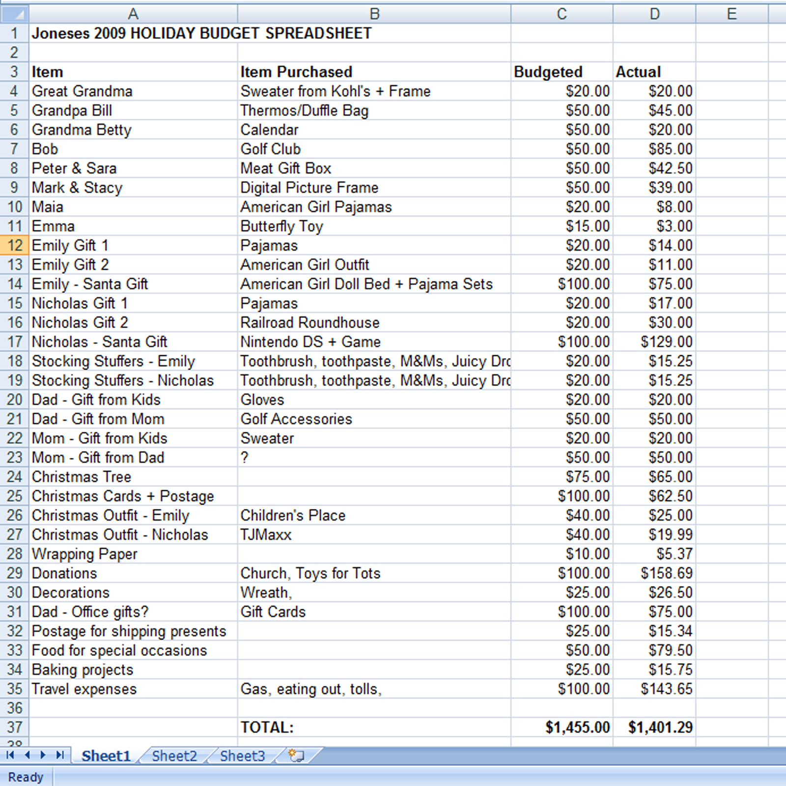 create a holiday gift expense spreadsheet