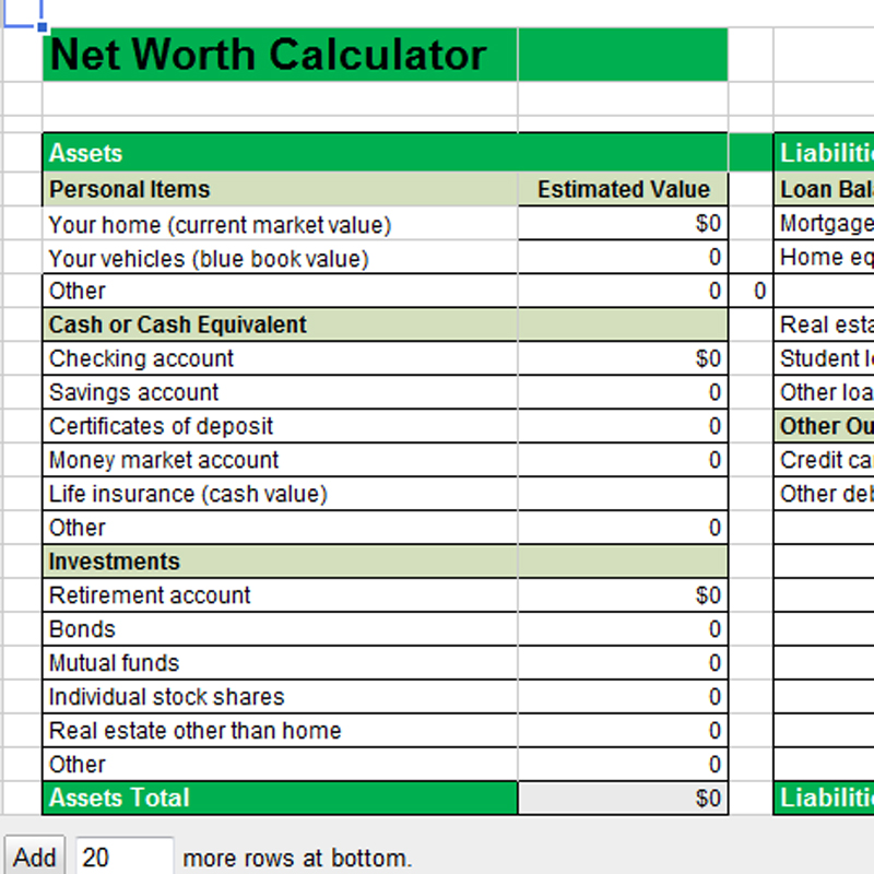 Calculate Your Household Net Worth