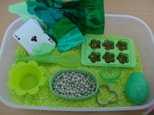3 Ways to Dye Rice and St. Patrick's Day Sensory Box Activity