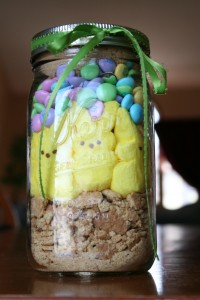 marshmallow peeps s'mores in a jar