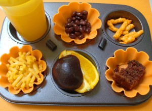 Halloween Muffin Tin Meal: Orange and Black