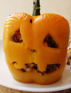 Halloween Food: Stuffed Pepper Jack-O-Lantern