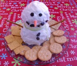 Easy Holiday Appetizer Recipe: Snowman Cheese Ball