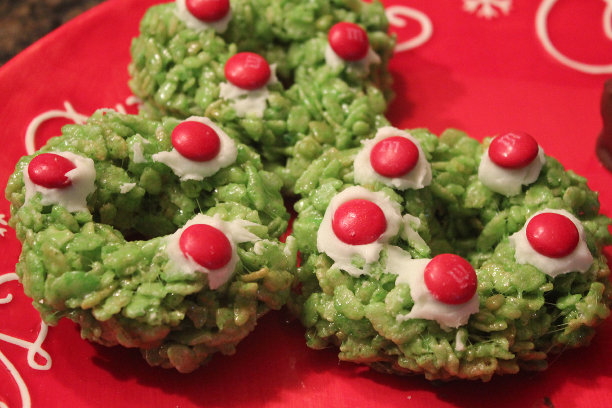 holiday wreaths rice krispy