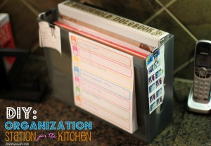 kitchen paper organization station