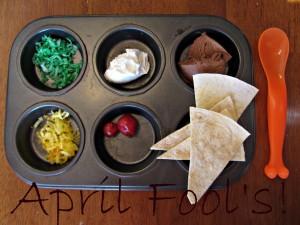 "April Fool's Day Muffin Tin Meal: ""Taco Salad"""