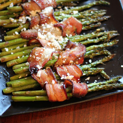 bacon-wrapped asparagus with feta