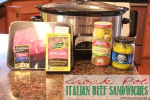 Italian Beef Sandwiches in the Crock Pot
