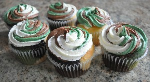 Camo Cupcakes with Buttercream Frosting