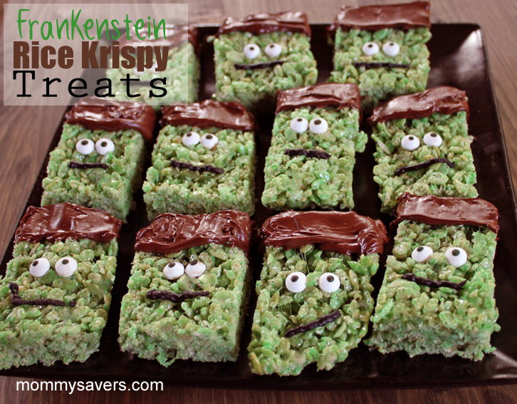 halloween treats frankenstein rice krispy treats mommysaverscom