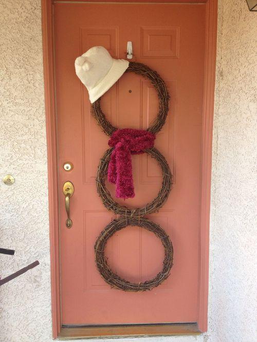homemade christmas decorations - snowman wreath