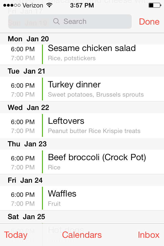 Weekly Menu Planning Method #1:  iPhone Calendar App