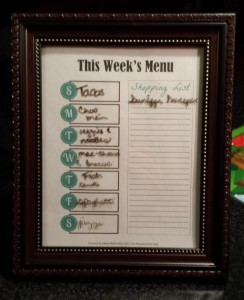 menu plan dry erase