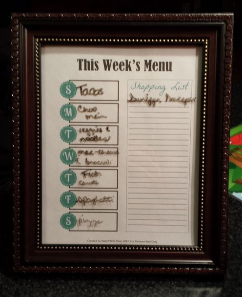 Weekly Menu Planning Method #2: Dry Erase Frame