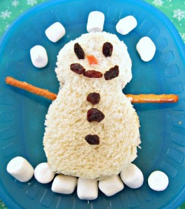 indoor winter activities snowman sandwich