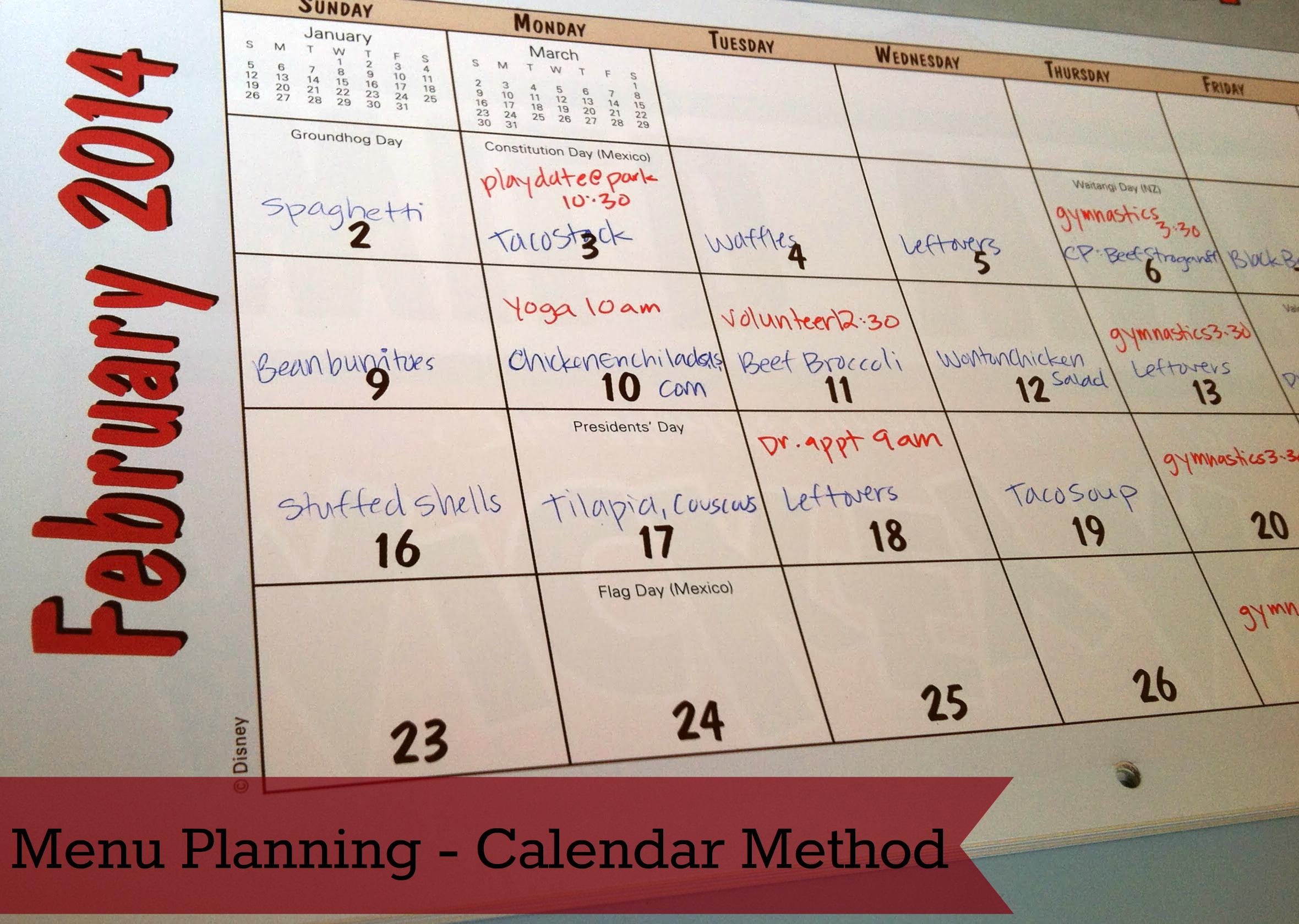 Weekly Menu Planning Method 3 Calendar Mommysavers