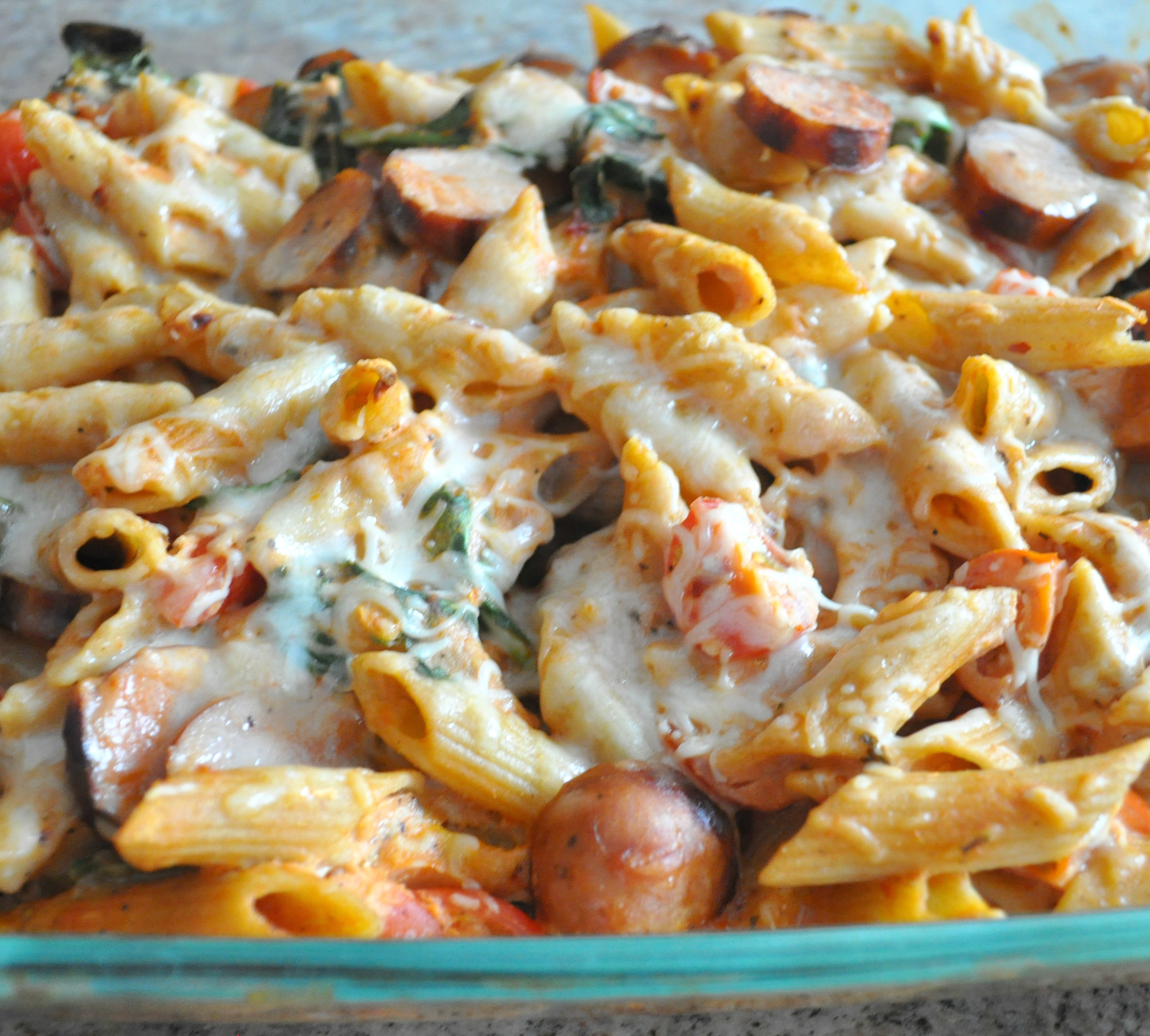 Baked Penne with Chicken Sausage, Spinach, Tomatoes and Greek Yogurt ...