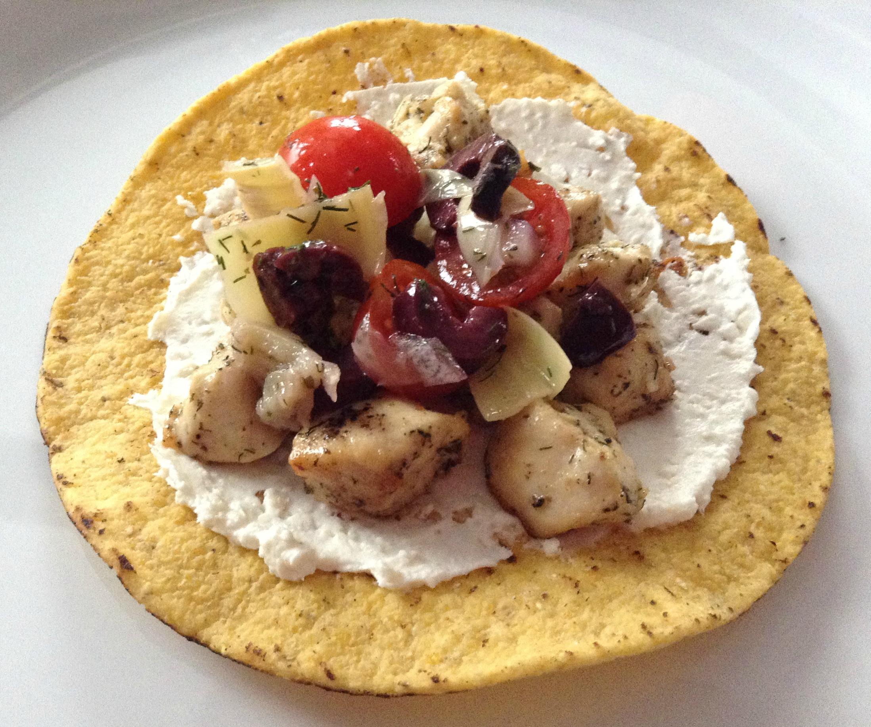 greek chicken tostadas