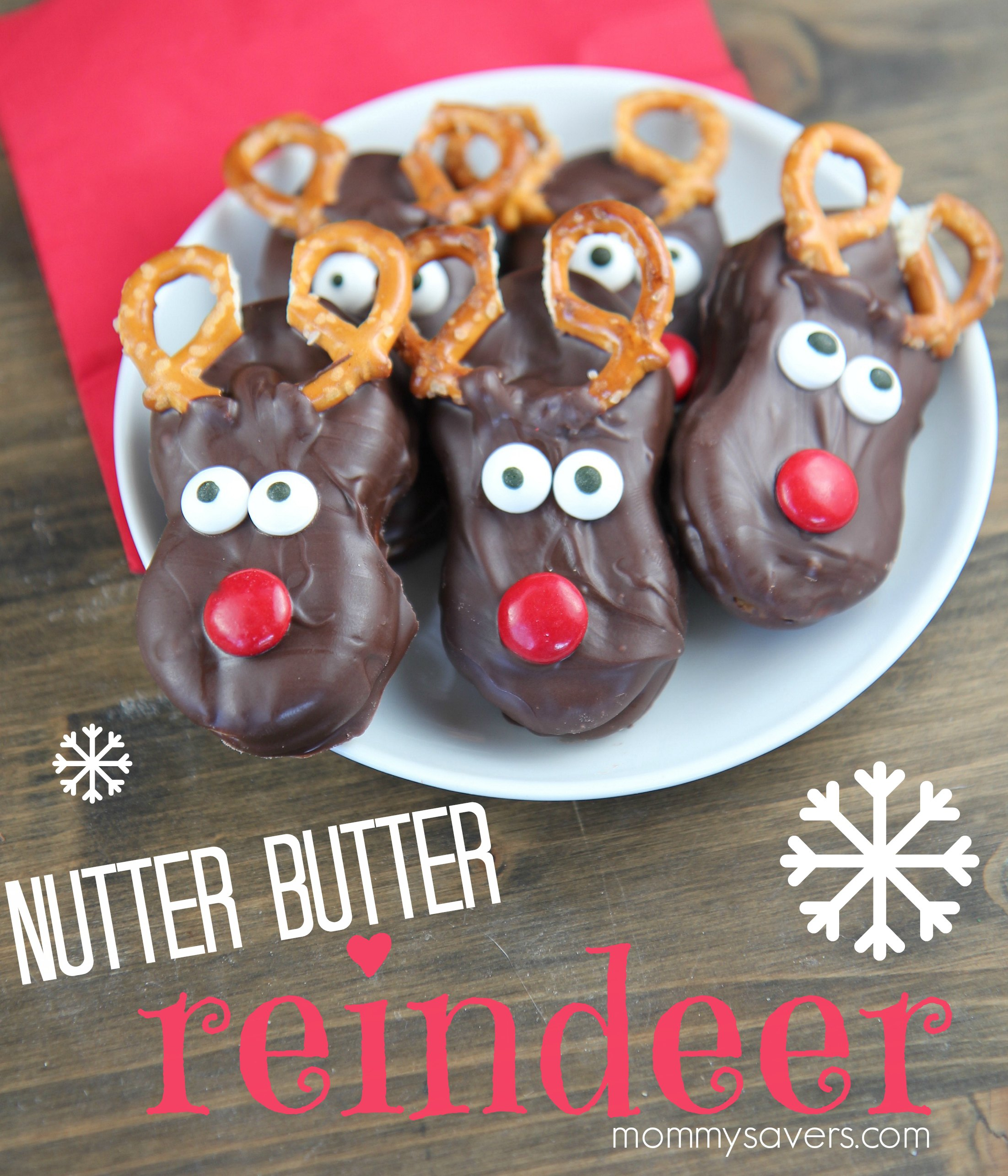 chocolate nutter butter reindeer cookies mommysavers