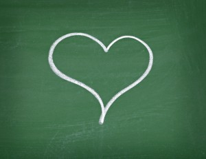 love hearts school chalkboard