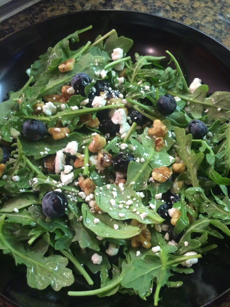 arugula blueberry and goat cheese salad