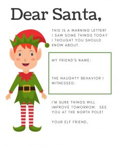 Elf on the Shelf Letter to Santa: The Warning Letter