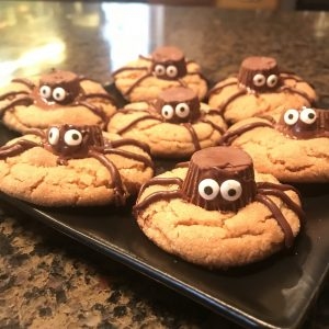 Halloween Spider Cookies with Reese's Candies and Wilton Candy Eyes