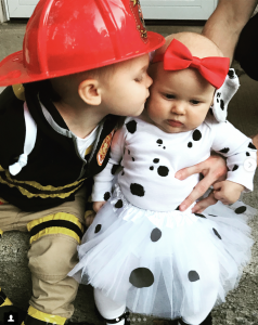 sibling costume dalmatian and firefighter