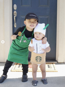 sibling costume ideas - barista and coffee cup