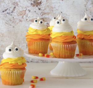 Halloween Cupcakes: Candy Corn Ghosts