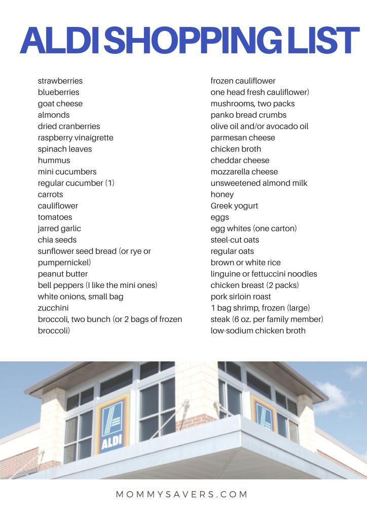 ALDI Shopping List: ALDI Menu Plan Week Two