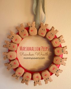 Marshmallow Peeps Reindeer Wreath